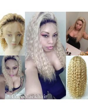 Regan-Mongolian virgin Ombre #n / 27 Full Lace wigs