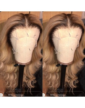 Salwa-Brazilian virgin ombre wave pre plucked full lace wig