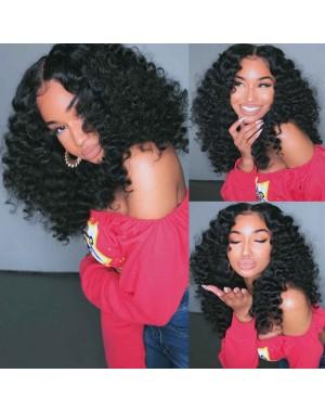 Emily31-Pre plucked Brazilian virgin spiral wave 360 wig