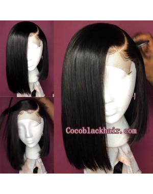 Viola-Pre plucked 13x6 wig straight bob Brazilian virgin 150% density