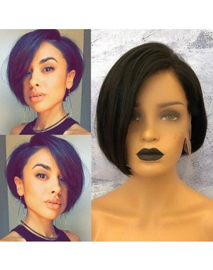 Nesha-Pre plucked Indian virgin short bob glueless 13x6 lace front wig