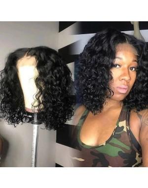 Emily47-pre plucked Brazilian water curly bob 360 wig
