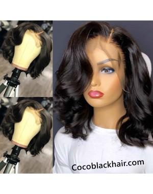 Emily46-pre plucked Brazilian wave bob 360 wig bleached knots