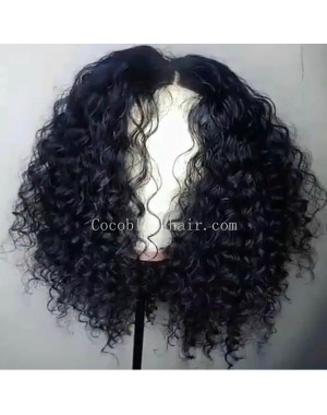 Emily53-Pre plucked Brazilian virgin wave curly 360 wig