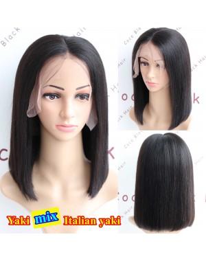 BOB16-Yaki mixed Italian yaki bob glueless lace front 13x6 wig Brazilian virgin hair