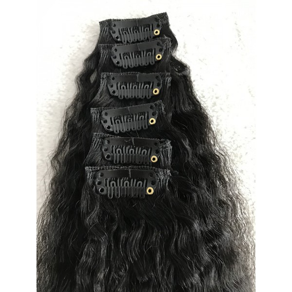 In Stock Clips In Kinky Straight Virgin Human Hair Extension