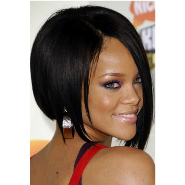 Britt- Short full lace human hair wigs for black Yaki straight ...