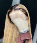 Audre-1b/613 Silk straight Lace front wig Pre-plucked