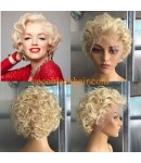 Adah-613 short wave bob Brazilian virgin glueless lace front wig