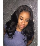 Lynn-Body wave glueless lace front silk top wig Brazilian virgin human hair