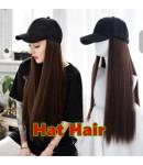 Megan-Hat hair natural straight hair on baseball hat