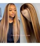 Lori-highlight color hair silky straight pre plucked lace wig 100% Brazilian virgin hair