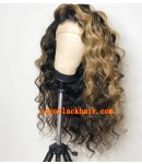 Emily32-1-Highlights color Pre plucked Brazilian virgin beachy wave 360 wig