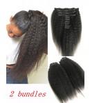 2 bundles clips in Brazilian virgin kinky straight extensions