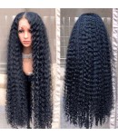 Emily49-Pre plucked long curly Brazilian virgin human hair 360 wig