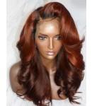 Emily70-Pre plucked Brazilian virgin loose big wave ombre color 360 wig