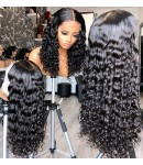 Jody15-middle parting curly 370 wig pre plucked Brazilian virgin human hair