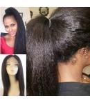 Nydia-Brazilian virgin human hair kinky straight silk top full lace wig for black women