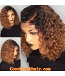 Emily58-ombre brown Pre plucked Brazilian virgin curly bob 360 wig
