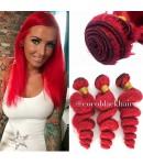 Brazilian virgin red color loose wave bundles wefts
