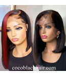 Jamie-Side parting bob 13x6 glueless lace front wig Brazilian virgin Pre plucked