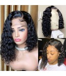 Emily59-pre plucked side part curly bob 360 wig Brazilian virgin hair