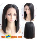 BOB16-Yaki mixed Italian yaki bob glueless lace front 13x6 wig Brazilian virgin hair
