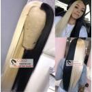 Nicki-Brazilian virgin pre plucked blonde black full lace wig