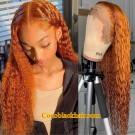 Emily67-Pre plucked brown curly Brazilian virgin hair 360 wig