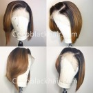 Freya-Pre plucked Indian virgin ombre color short bob 13x6 glueless lace front wig