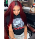 Riley-Brazilian straight ombre red color pre plucked full lace wig