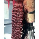 Brenda-Brazilian virgin Wine Red deep wave pre plucked lace wig