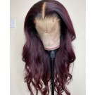 Amya-Brazilian virgin loose wave Wine Red pre plucked lace wig