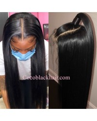 Nova 02-Silky straight Brazilian virgin 13x6 wig glueless lace front Pre plucked hairline