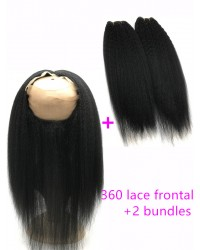 360 lace frontal with 2 bundles Brazilian virgin Italian yaki