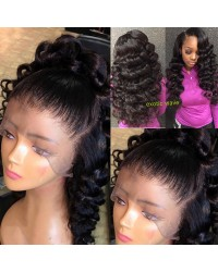 Emily21- Brazilian virgin exotic wave 360 lace frontal wig