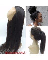 Brazilian Virgin Yaki Straight 360 Lace Frontal