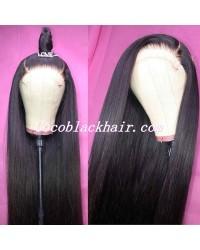 Jody06-yaki straight 370 wig pre plucked Brazilian virgin human hair