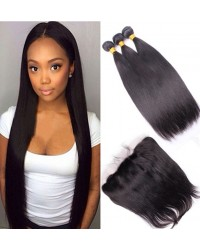 lace frontal with 3 bundles silk straight Brazilian virgin