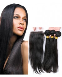 silk closure with 3 bundles silky straight Brazilian virgin