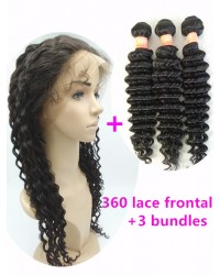 360 lace frontal with 3 wefts Brazilian virgin deep wave