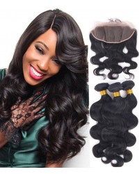lace frontal with 3 bundles body wave Chinese virgin