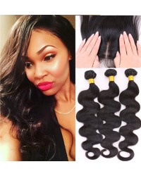 silk base closure & 3 bundles body wave Chinese virgin