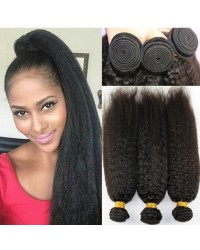 3 bundles kinky straight machine wefts Malaysian virgin