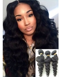 Mongolian virgin 3 bundles loose wave hair weaves