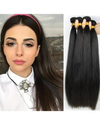 Brazilian virgin 4 bundles silky straight hair weaves