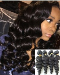 Chinese virgin 4 bundles loose wave hair wefts