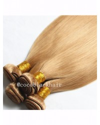 4 bundles Brazilian virgin silky straight blonde color #27