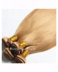 4 bundles Brazilian virgin silky straight blonde color #27