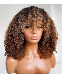 Emily85-Pre plucked 360 wig blonde highlight brown curly hair with bangs Brazailian virgin human hair